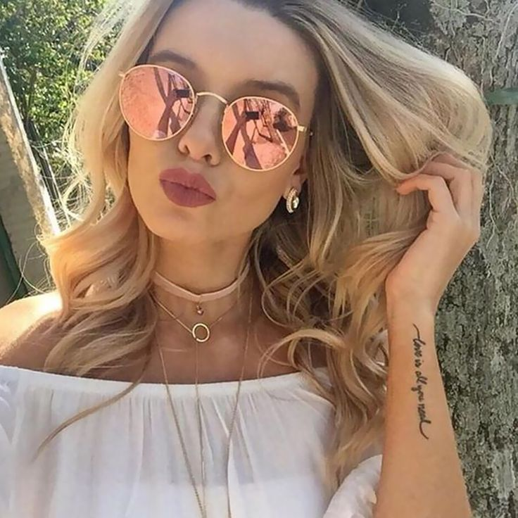 Rose Gold Reflective Women Sunglasses Retro Classic Round Sunglasses For Womens brand Designer Sunglass UV400 Rays Lady Shades #hats, #watches, #belts, #fashion, #style