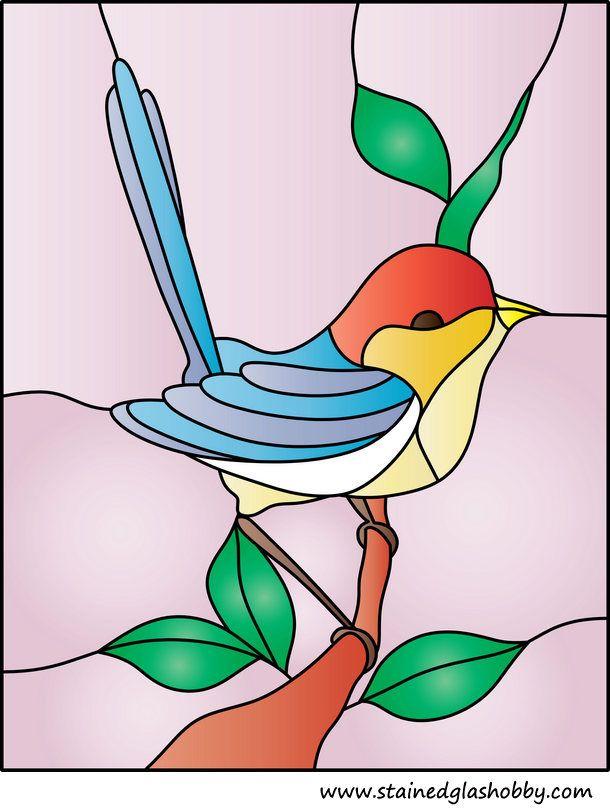 Modelo de cristal manchado pájaro