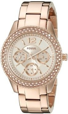 Fossil Ladies Stella Rose Gold Stone Set Bezel Multifunction Watch ES3590: A wonderfully feminine accentuated timepiece, displaying day and time. This watch is also splash proof, with a Fossil 2-year warranty for extra peace of mind.