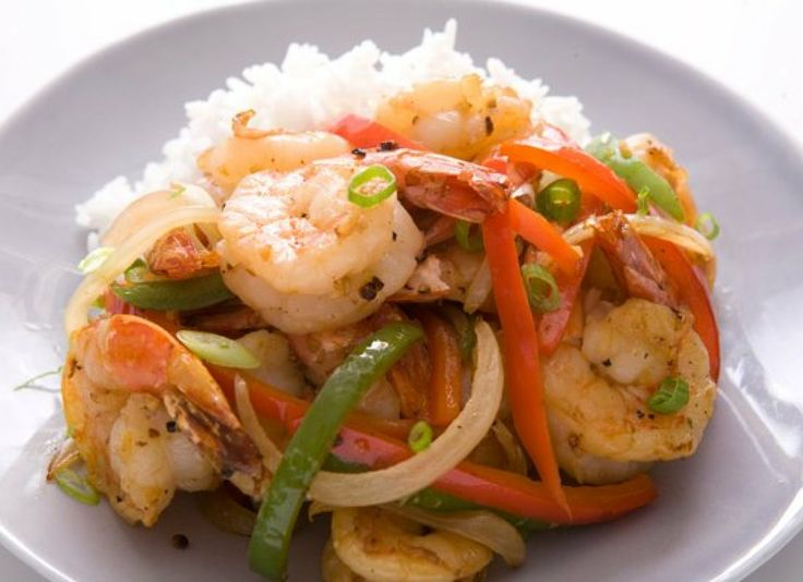 Wok-Fried Black Pepper Shrimp  Make the Chinese takeout favorite at home with this quick recipe. Garlic, ginger and soy sauce flavor the stir-fry, which includes red and green bell peppers and onions. Coarsely cracked black pepper adds the characteristic spicy flavor.