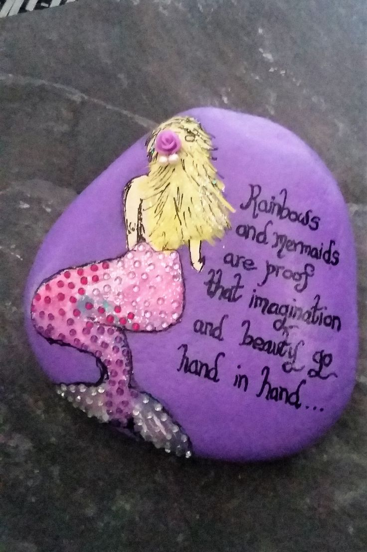 Mermaid decorative pebble, mermaid keepsake, with mermaid quote.  It would make a lovely gift for someone who loves mermaids.  Click here for more designs.