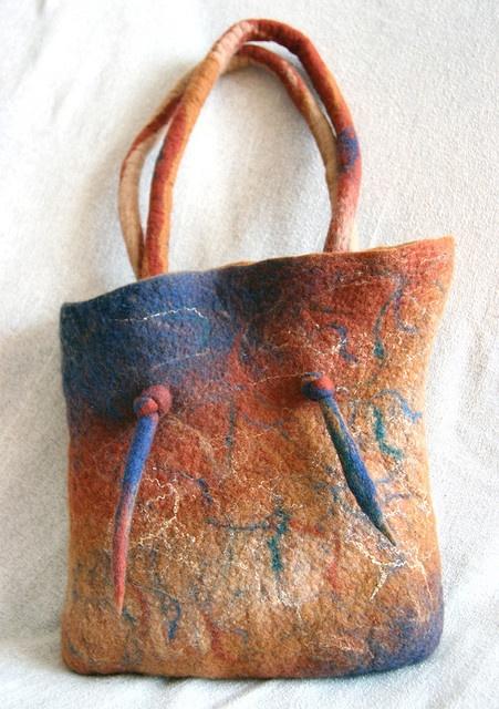 nuno felted bag - unique handles