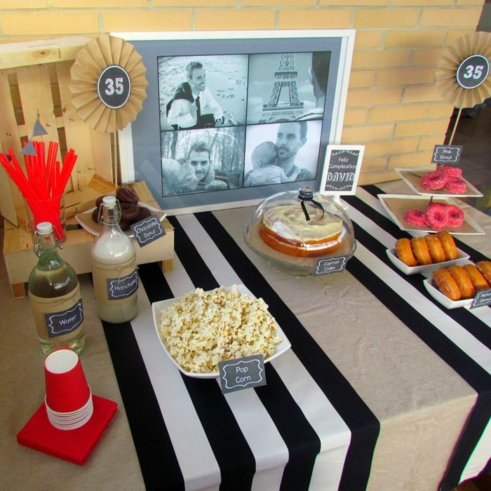 Fiesta 35º cumpleaños - 35th Birthday Party - Decoración en blanco, negro y gris - Black, white and grey decor - https://baladrecraftingcreativity.wordpress.com