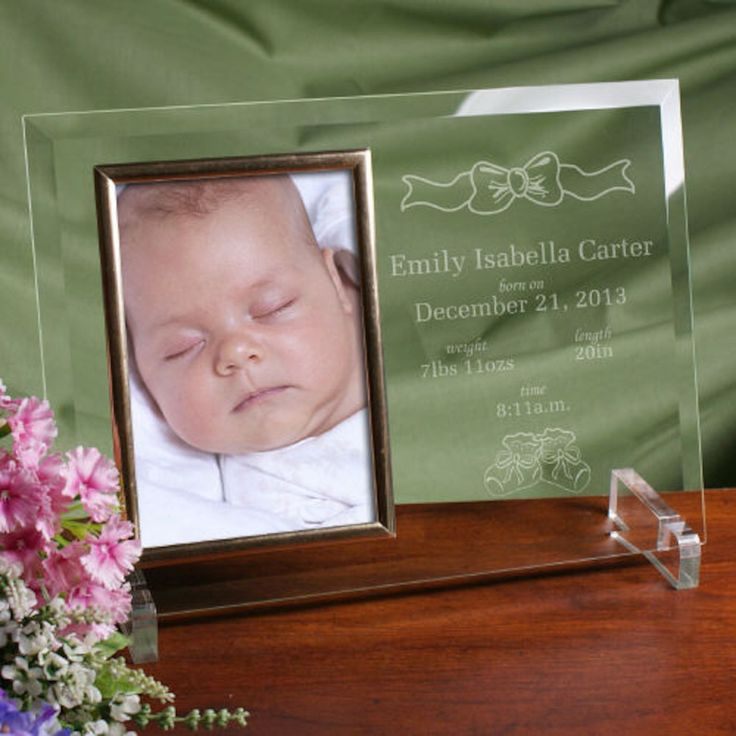 Personalized In the Beginning New Baby Beveled Glass Picture Frame