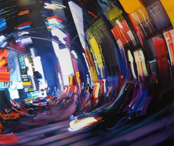 Alexandra Pacula paints very large canvases that look like blurry long-exposure photographs of hectic urban scenes