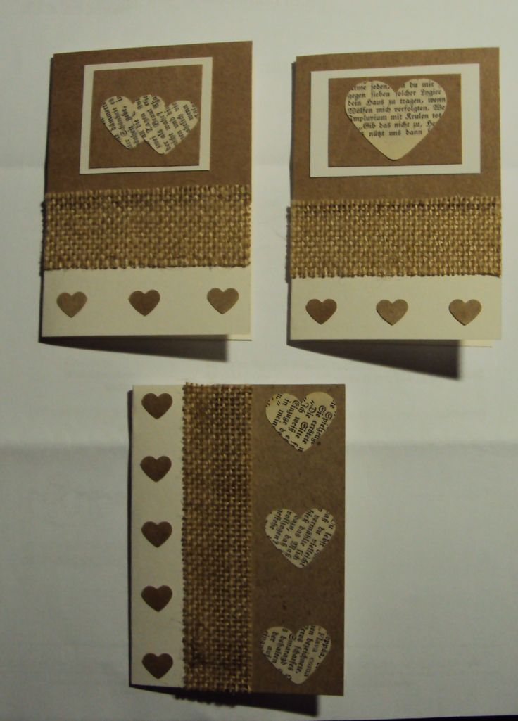 Cards made from old book pages and hessian