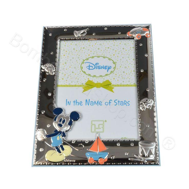 Portafoto Mickey Mouse in laminato argento con confetti #portafoto #topolino @micheymouse #idearegalo #disney #argento