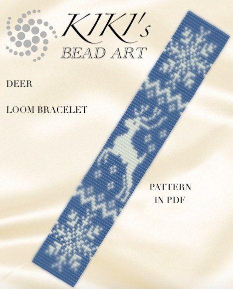 Bead loom pattern Deer winter themed LOOM by KikisBeadArts