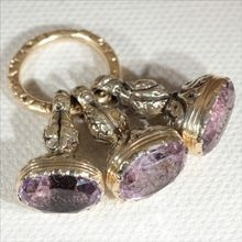 """Antique 18k Victorian """"Faith, Hope and Charity"""" Triple Amethyst Seal Fob c.1830"""