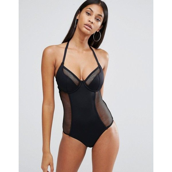 Pour Moi Underwired Halter Swimsuit ($62) ❤ liked on Polyvore featuring swimwear, one-piece swimsuits, black, halter bathing suit tops, underwire one piece swimsuit, underwire halter swimsuit, halter swimsuit and underwire bathing suits