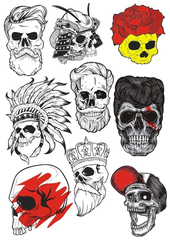9e092aeda2 Bearded Skulls Vector Illustration Free Vector cdr Download in 2019 ...