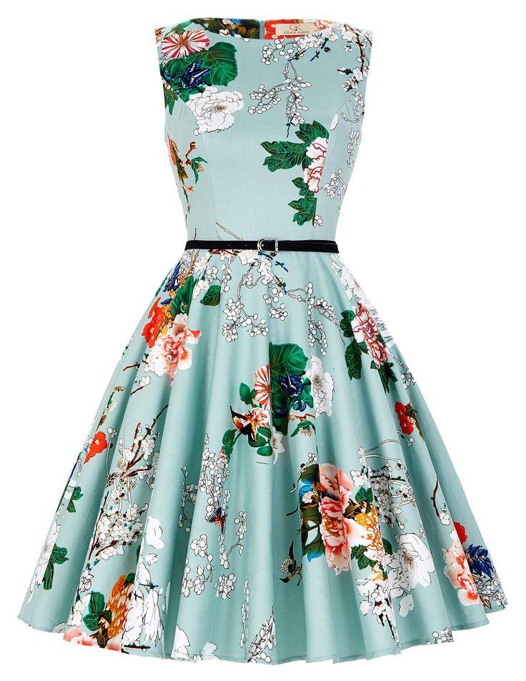 GRACE KARIN® Donne Vestiti Estivi Vintage Linea Ad A Casual Cocktail Vestito Cotone IT6086: Amazon.it: Abbigliamento