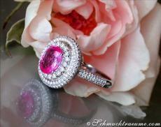 Pink Saphir Brillanten Ring, Weißgold 750