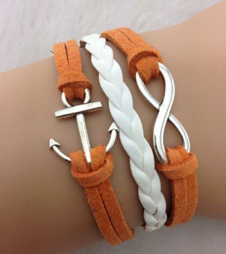 1 Dozen Orange White Handmade Bracelet Wrap Infinity Anchor Bangle for Men Women Charm Bracelet Gift For Her www.bernysjewels.com #bernysjewels #jewels #jewelry #nice #bags