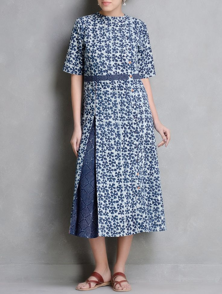 Buy Indigo-Ivory Dabu Printed Side Placket Detail Pleated Cotton Dress by Indian August Online at Jaypore.com