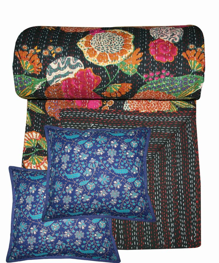 Free 2pc Cushion Cover, Indian Kantha Bed Cover, Bed Sheet, Quilt King Size bed