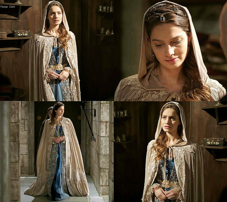 Fahriye Sultan's blue and lace dress w/ cream cape