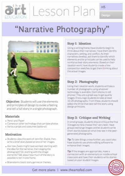 If a picture is worth a thousand words, narrative photographs are the kind of pictures worth a whole novel. Encourage the total creative process through this lesson plan focused on visual storytelling.