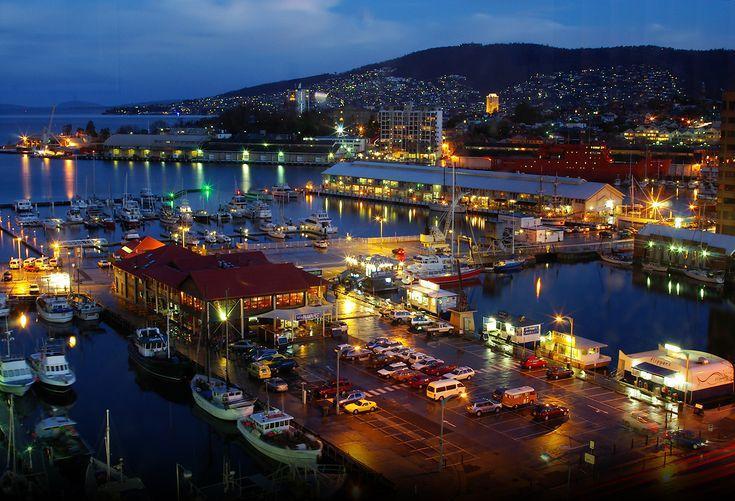 The Hobart waterfront at night.