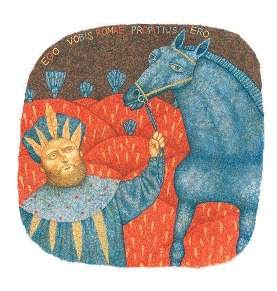 Yury Kruglikov Man and Horse  (paper/ gouache, colored pencils, 2011)