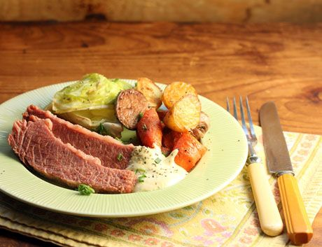 Corned beef with horseradish-mustard sauce (pressure cooker, slow cooker or stovetop) (The Perfect Pantry).