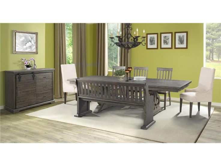 ElementsStone 6pc Weathered Brown Dining Group Room FurnitureDining RoomsDining
