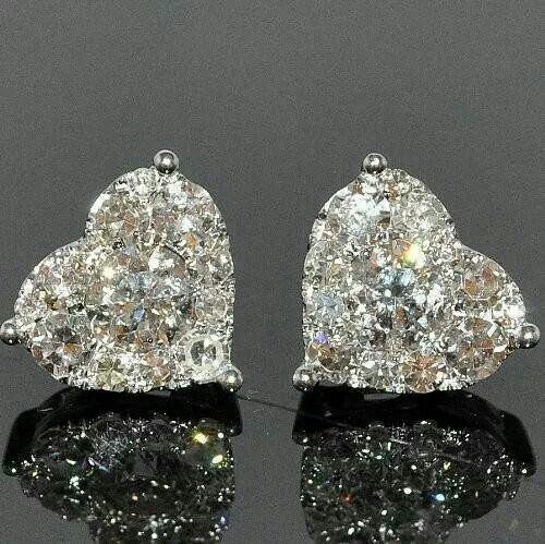 Mixed diamonds heart shaped earrings