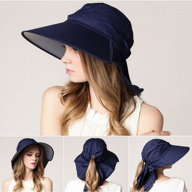 Ladies Soft Summer Wide Brim Anti UV Sun Cap Hat with Wind Rope Ponytail Hole  | eBay