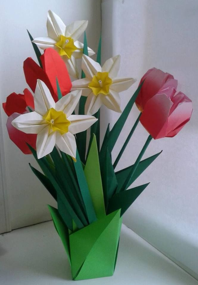 origami flowers tulips and daffodil folded by me