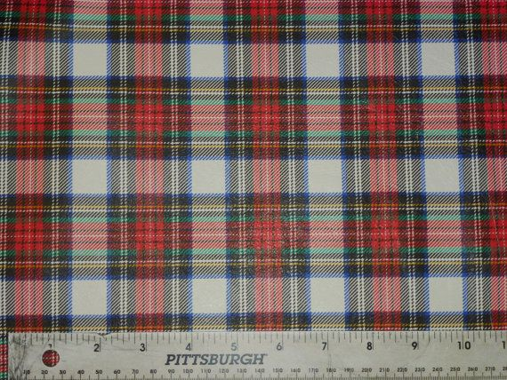 """Leather 6 Pack 4""""x6"""" Tartan Plaid Print white background with Red Navy green Thin LAMBSKIN #114 1.5 oz / 0.8 mm PeggySueAlso? E2176-10"""