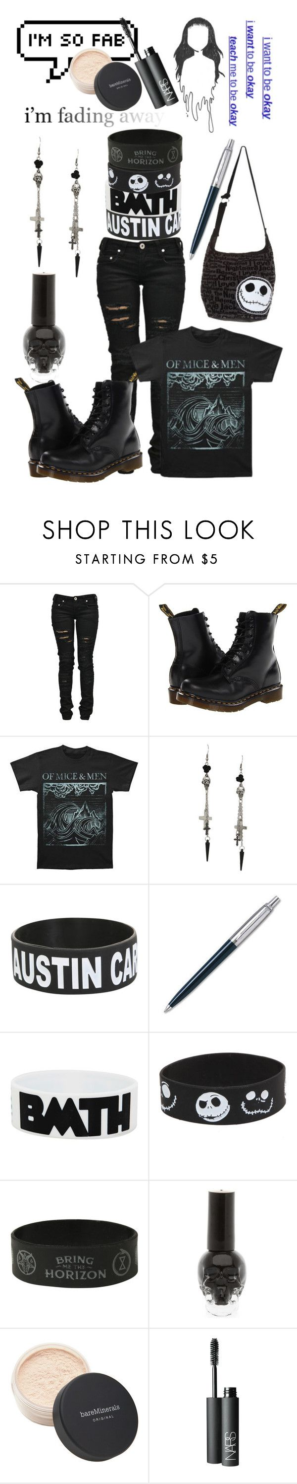 """EXACT OOTD"" by perfect-in-black ❤ liked on Polyvore featuring Denim of Virtue, Dr. Martens, Disney, Bare Escentuals and NARS Cosmetics"