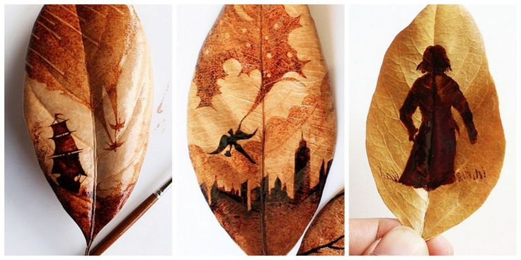 This Artist Uses Leftover Coffee Grounds to Create Stunning Fairytale Leaf Illustrations