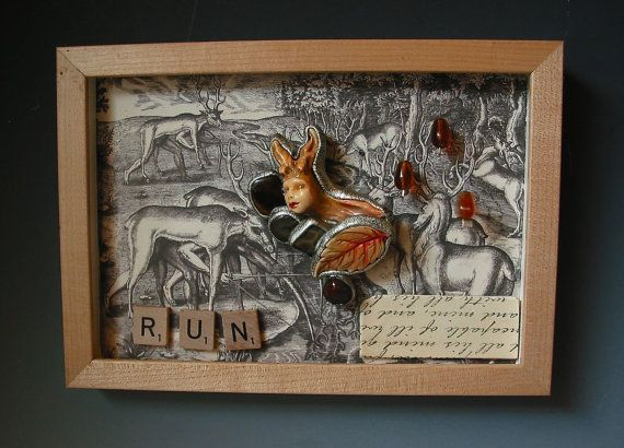 """ooak Handmade mixed media shadow box called """"Run"""". Figure is a removable pendant necklace by Susan Sorrentino on Etsy, $120.00"""