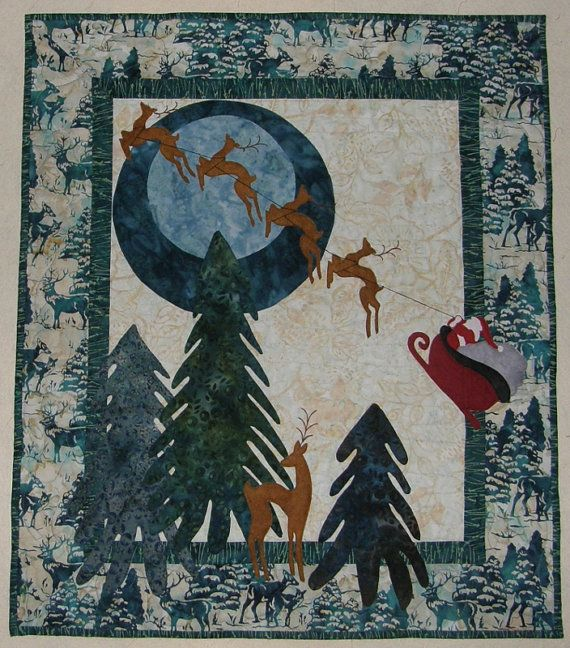 Christmas Art Quilt Santa and Reindeer Quilted Wall by HollysHutch
