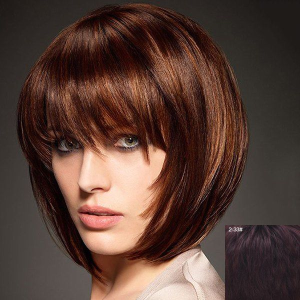Graceful Short Capless Fashion Straight Bob Style Full Bang Real Human Hair Wig For Women #women, #men, #hats, #watches, #belts, #fashion