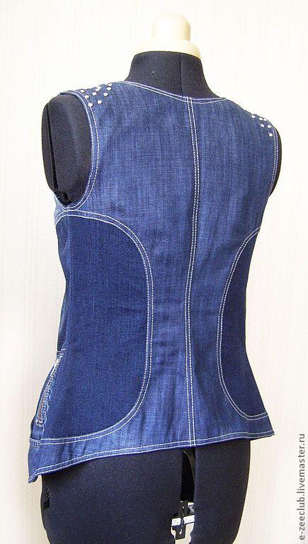 Жилетка джинсовая. Handmade.