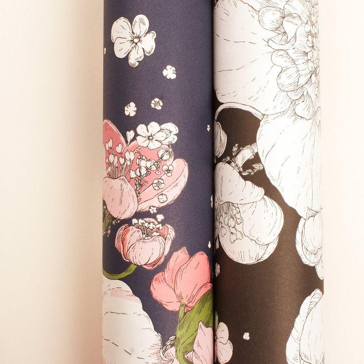 "Wrapping paper ""Sydäntalvi"" Pink+Black Nuppu Print Company"