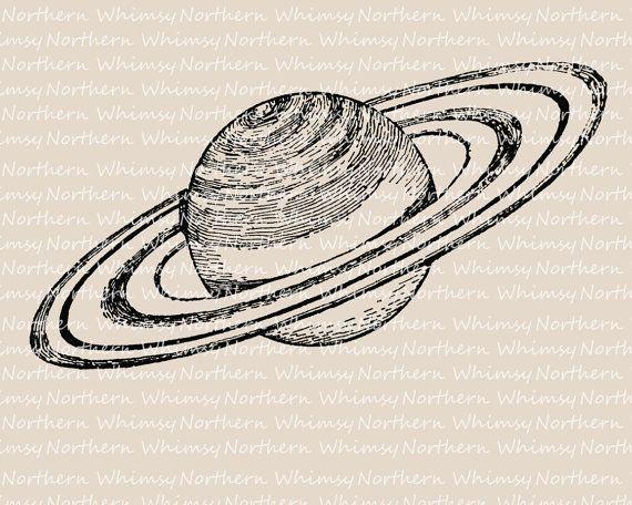 Vintage Planet Clip Art - Saturn Clip Art - Planet Illustration - Saturn Digital Stamp - solar system - instant download - commercial use