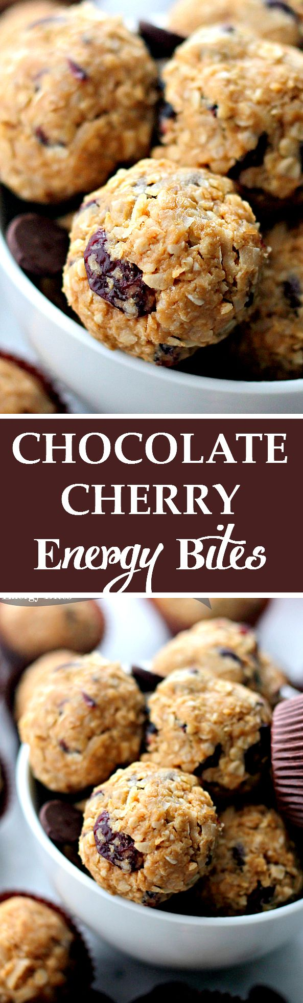 Studded with dried cherries and loaded with dark chocolate chips, these healthy cookie energy bites are sweet, delicious, and incredibly easy to make!