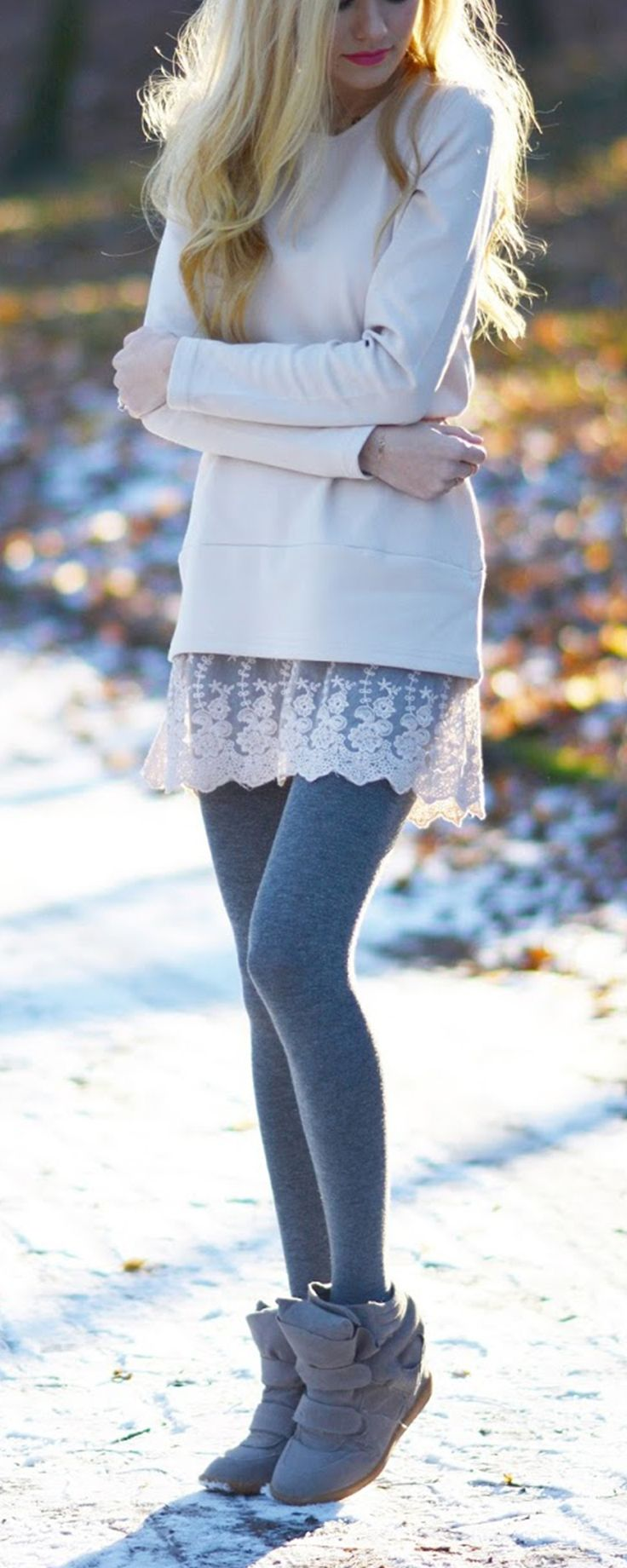 Apricot Long Sleeve With Lace Dress  US$17.99