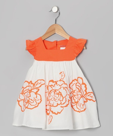 Take a look at this Orange Flower Angel-Sleeve Dress - Toddler & Girls by Funkyberry on #zulily today!