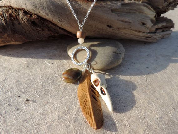crow skull silver charm necklace by twinflowersjewelry on Etsy