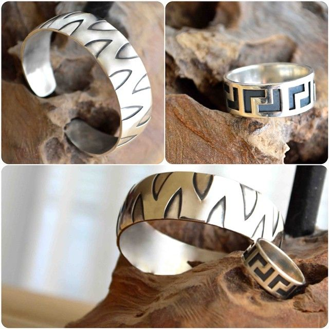 Sterling silver bracelet and ring, handcrafted and custom made by silversmith jewellery designer http://www.pinterest.com/martirosianART/martirosian-fine-jewellery/   [fine jewelry, jewellery, handmade in The Hague, custom made, custom jewelry] http://instagram.com/martirosian_jewelry/