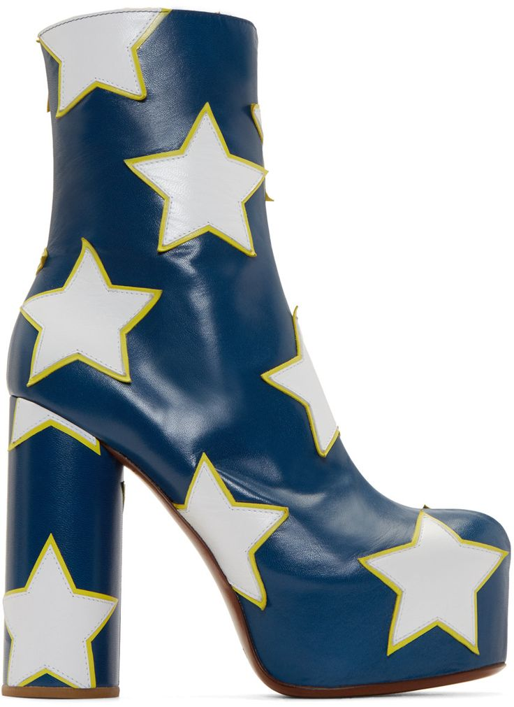 Vetements Blue & White Star Platform Boots