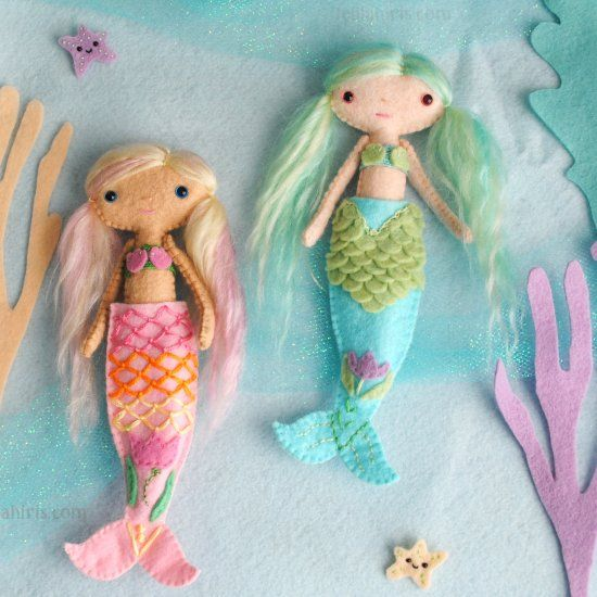 Create adorable mermaid dolls with this easy to use printable pattern.