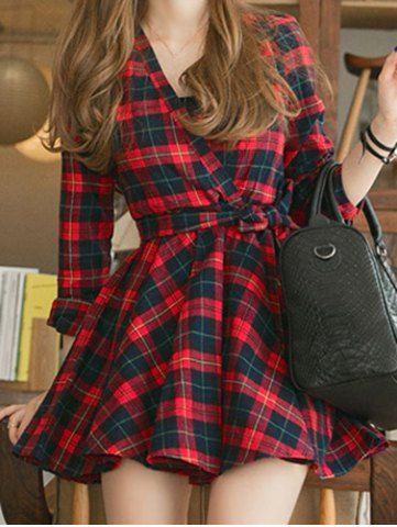 Stylish V-Neck Checked Print Waisted Corset Long Sleeve Women's Dress