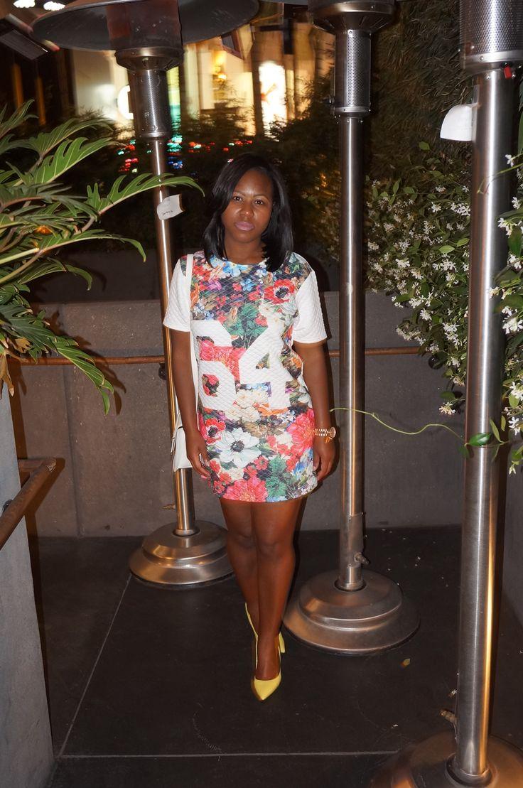 floral throw back tee dress