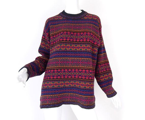 Vintage 80s Oversized Fair Isle Women's Sweater - Medium - Women's Colorful Long Baggy Striped Knit Pullover Jumper - Big Hipster Sweater
