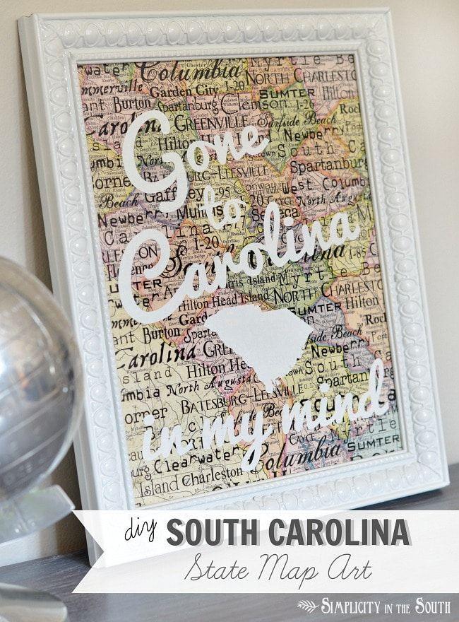 DIY South Carolina State Map Art- Gone to Carolina in My Mind