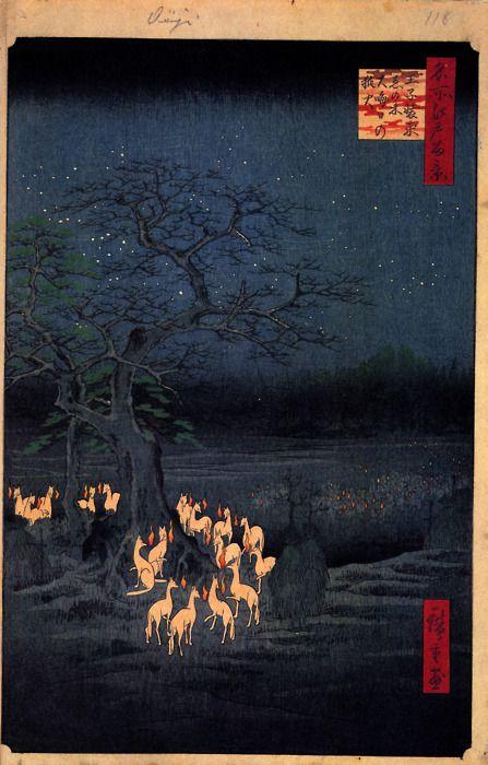 """Kitsunebi(""""fuoco divolpe"""", anche hitobosu,hitomoshiorinka):Sono lanterne lampeggianti che appaiono di notte, dal colore che varia dal rosso all'arancione,ma in varieprefetturealcuni testimoni affermano di avere visto anche di blu. Secondo alcuni provengono dal sospiro o dal movimento delle code delle volpi,per altri il bagliore è dato da una loro particolare capacità, detta kitsunebi-dama(sfera di volpe). Sonoconosciuti in tutto ilGiappone, tranne nellaprefettura di Okinawa."""